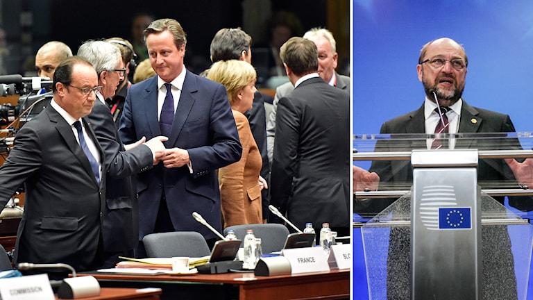 Hollande, Juncker, Cameron, Merkel och Schulz på toppmötet.