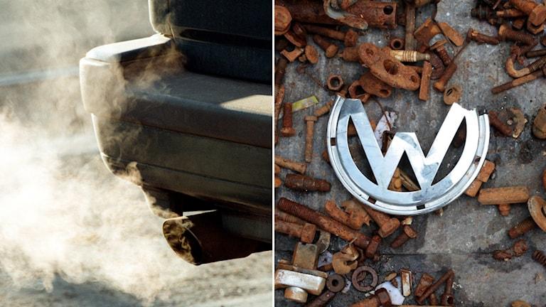 En Volkswagen-logga ligger bland rostiga bildelar och ett avgas rör som. Foto: Sofia Jaramillo/AP och Erik G Svensson/TT.