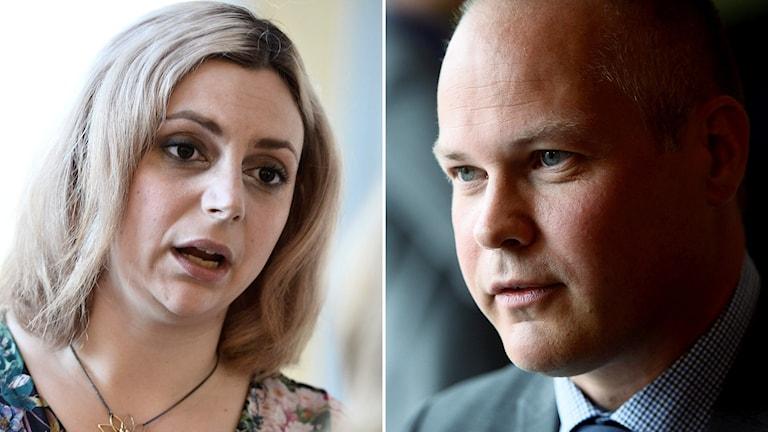 Sverigedemokraternas Paula Bieler och Socialdemokraternas Morgan Johansson. Foto: TT.