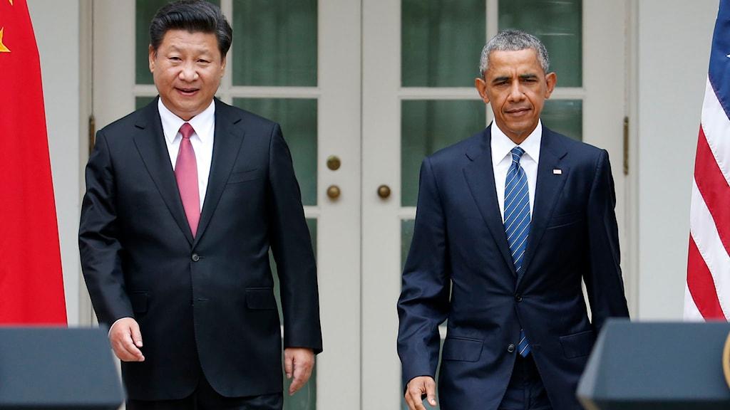 Kinas och USA:s presidenter Xi Jinping och Barack Obama. Foto: Evan Vucci/TT.