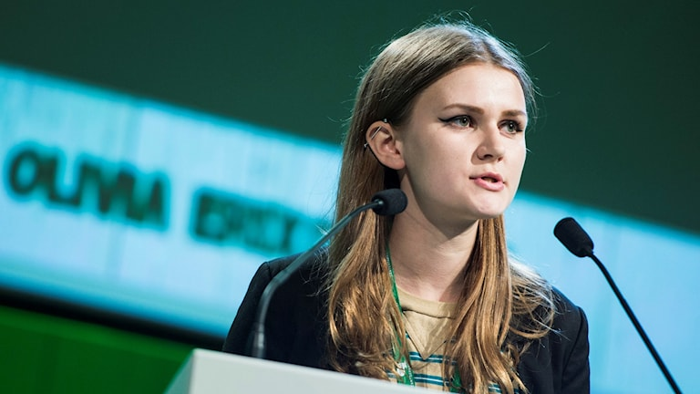 Olivia Erixon, CUF i talarstolen på centerstämman. Foto: Pontus Lundahl/TT