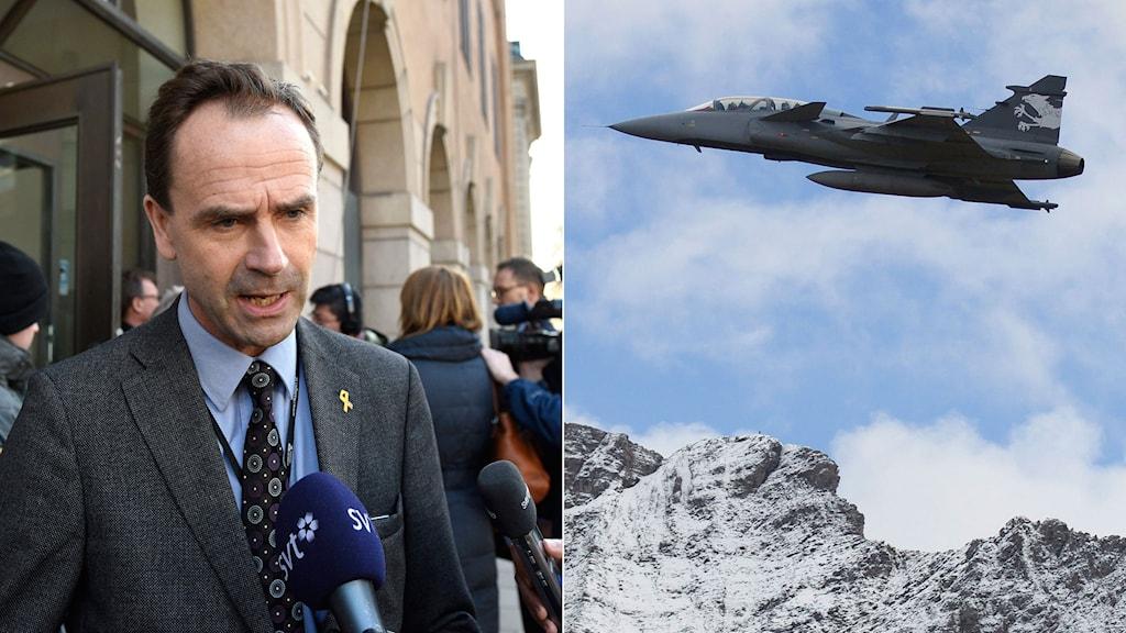 Folkpartiets Allan Widman är kritisk. Bild på ett Jas 39 Gripen som flyger över höga berg. Foto: TT. Montage: Sveriges Radio.