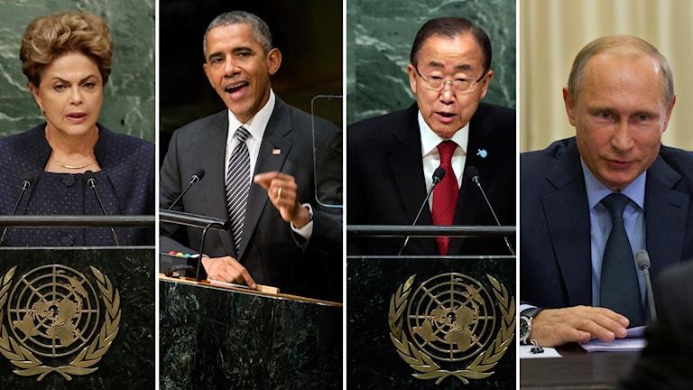 Tal i FN:s generalförsamling hålls under måndagseftermiddagen. Foto: TT