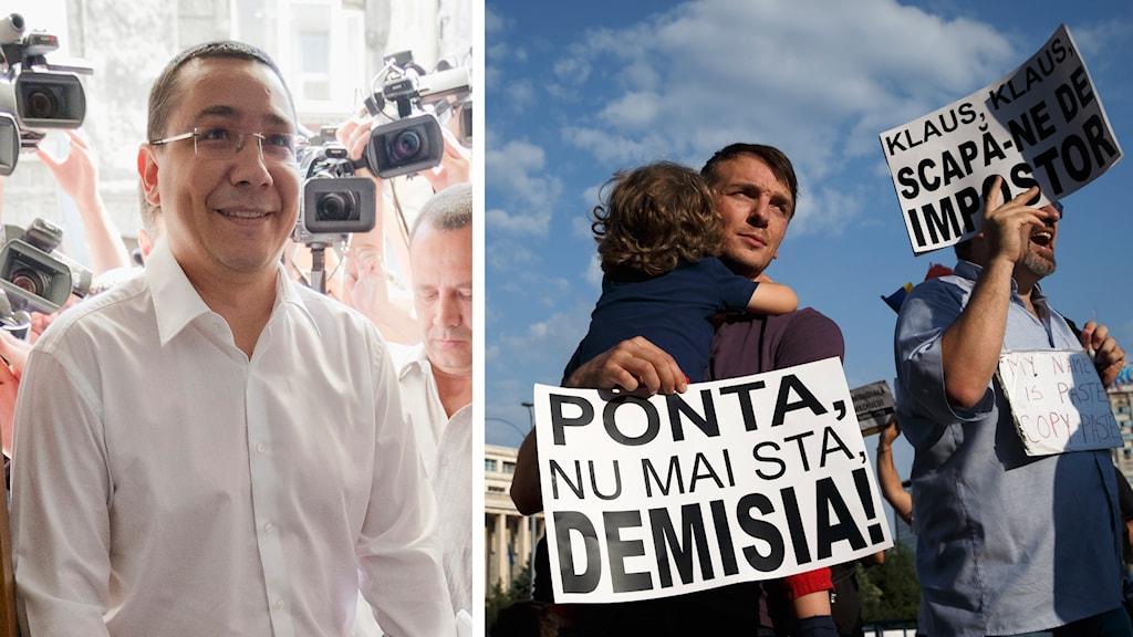 Premiärministern Victor Ponta och protesterande rumäner som kräver hans avgång. Foto: Vadim Ghirda/TT.