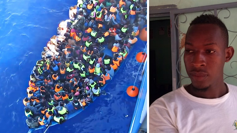 Överfull flyktingbåt och bild på Aliou Mbow. Foto: TT/Privat.