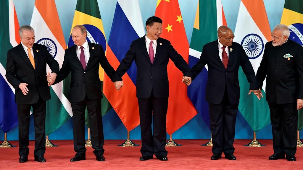 Bricsländernas ledare poserar för ett gruppfoto vid senaste toppmötet i Kina förra året.