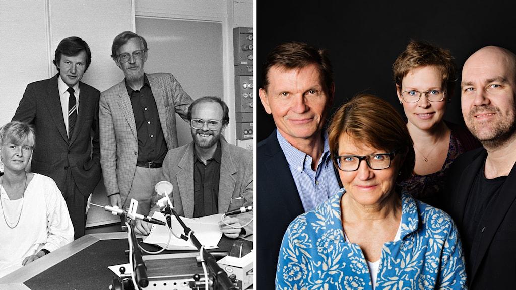 Redaktionen 1985 och 2014: Louise Andersberg, Henric Borgström, Leif Söderström och Martin Haag, Sören Granath, Catarina Friskman, Claes Aronsson och Eva Stenström. Foto: Anders Roth, Martina Holmberg / Sveriges Radio