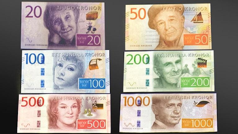 Astrid Lindgren 20, Evert Taube 50, Greta Garbo 100, Ingmar Bergman 200, Birgit Nilsson 500, Dag Hammarskjöld 1000.