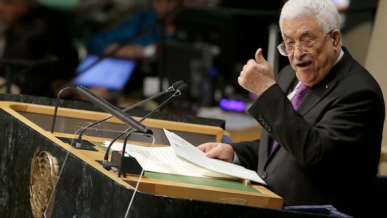 Han listade israeliska avsteg från avtalen och deklarerade att så länge Israel fortsätter att bygga ut bosättningar och inte släpper palestinska fångar så har palestinierna bara ett val. Foto: Mary Altaffer/TT