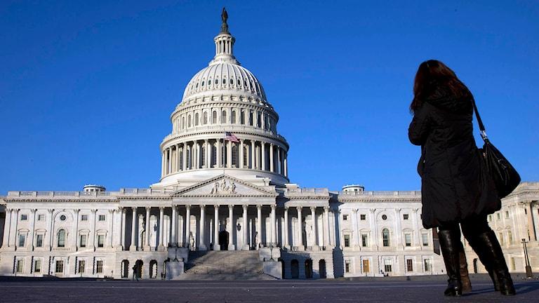 En kvinna står och tittar på Capitolium i Washington. Foto: Jacquelyn Martin/TT.