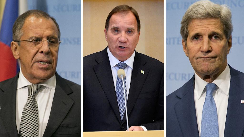 Sergey Lavrov, Stefan Löfven och John Kerry. Foto: Dominick Reuter/AFP, Anders Wiklund/TT.