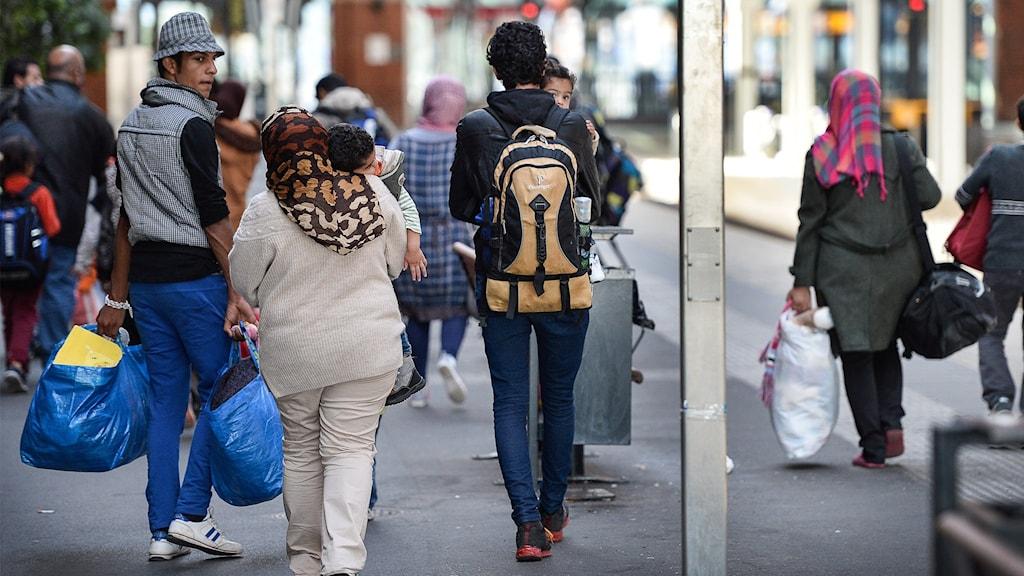 Nyanlända flyktingar. Foto: Anders Wiklund/TT.