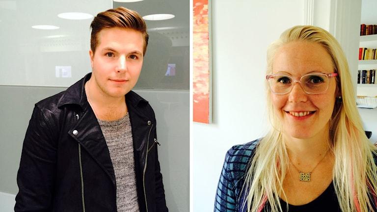 Robin Stjernberg och på Anna Dreber Almeberg, forskare i nationalekonomi vid Handels. Foto: Karin Wettre / Sveriges Radio