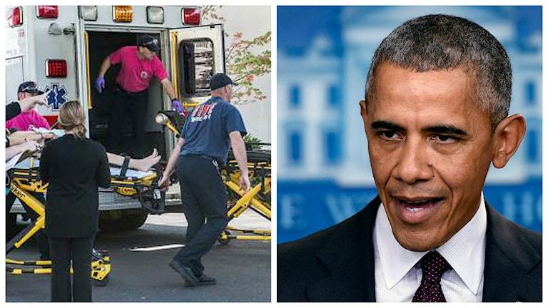 Ambulanspersonal vid skolan efter dödsskjutningen i USA. President Barack Obama. Foto: Mike Sullivan/TT, Foto: Susan Walsh/TT.