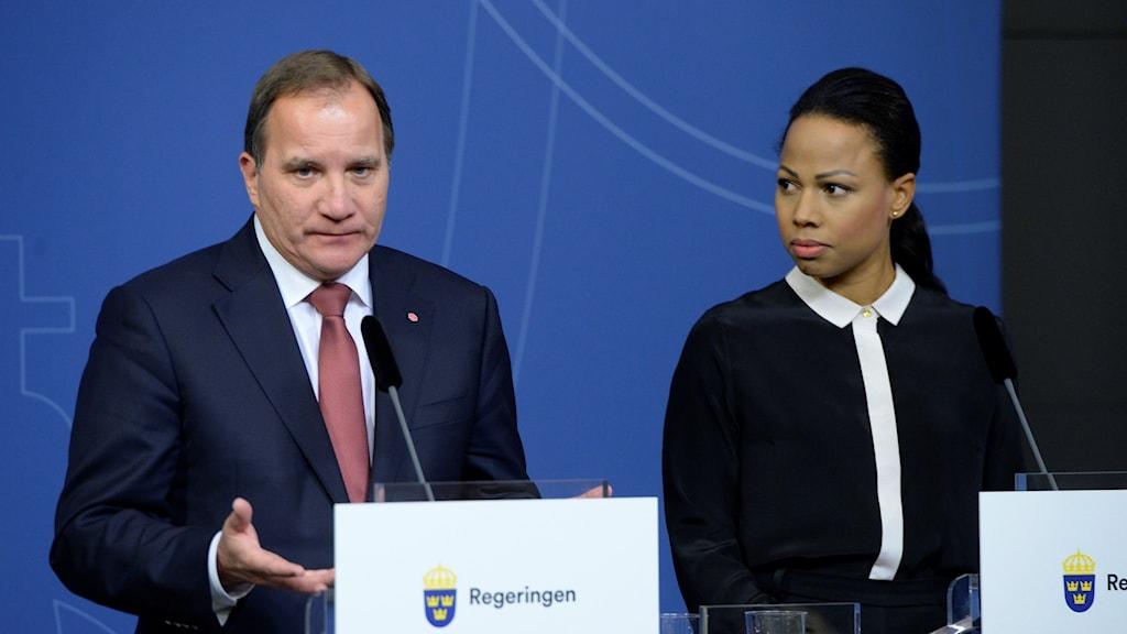 Stefan Löfven och Alice Bah Kuhnke. Foto: Bertil Ericson/TT