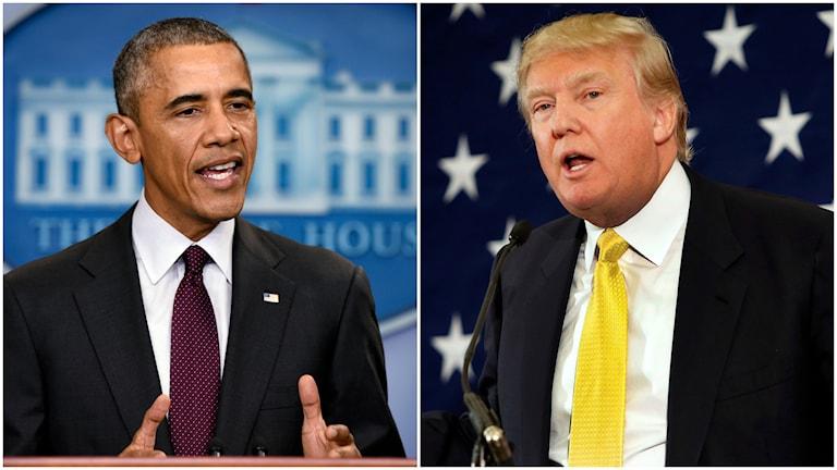 USA:s president Barack Obama och fastighetsmiljardären och republikanen Donald Trump. Foto: TT.