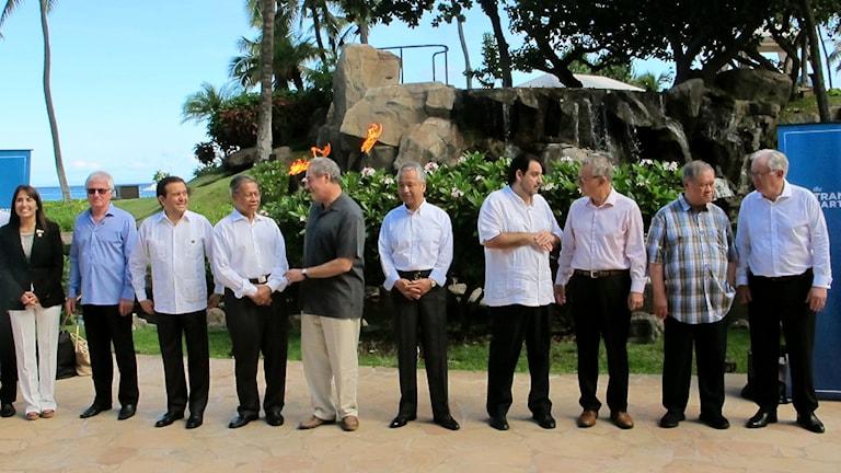 Handelsministrarna i TTP samlades på Hawaii i somras. Foto: Audrey McAvoy /TT