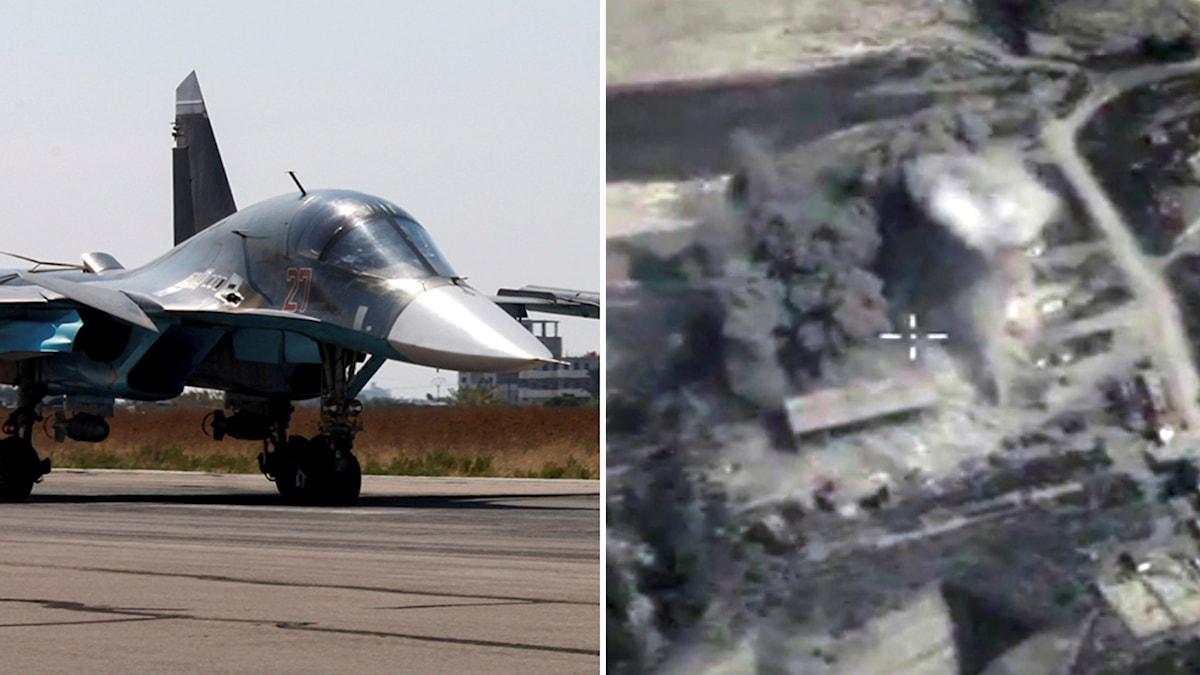 Ryskt stridsplan, samt en luftbild från en bombexplosion i Syrien. Båda bilderna kommer från ryska försvarsmyndigheter. Foto: TT