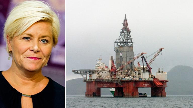 Norges finansminister Siv Jensen (Frp) och en oljerigg. Foto: Vegard Wivestad Grött/TT och Statoil/TT. Montage: SR