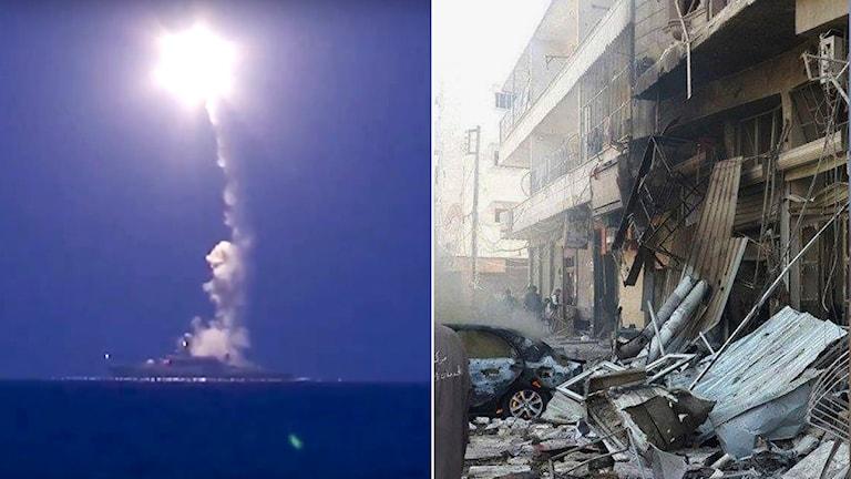 Rysk kryssningsrobot avfyras från fartyg i Kaspiska havet samtidigt som flyganfall fortsatt de senaste dagarna i bland annat Aleppo. Foto: Ryska försvarsministeriet samt AP/TT