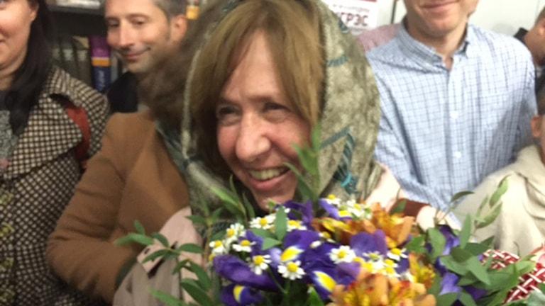Den vitryska författaren Svetlana Aleksijevitj får årets Nobelpris i litteratur. Foto: Maria Persson Löfgren / Sveriges Radio