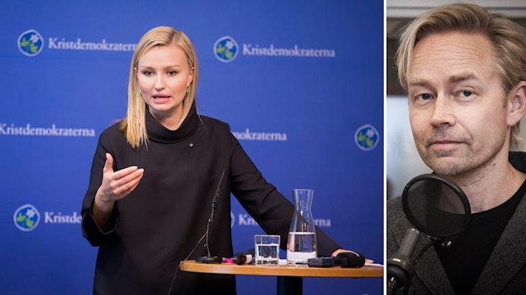 Partiordförande Ebba Busch Thor talar på presskonferensen under Kristdemokraternas riksting i Västerås. Fredrik Furtenbach kommenterar första dagen. Foto: Per Groth / TT samt Pablo Dalence/ Sveriges Radio