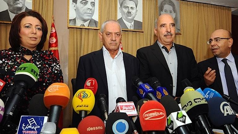 """En bild från 2013 som visar medlemmar av """"Tunisian national dialogue quartet"""". Foto: Fethi Belaid/AFP/Getty Images."""