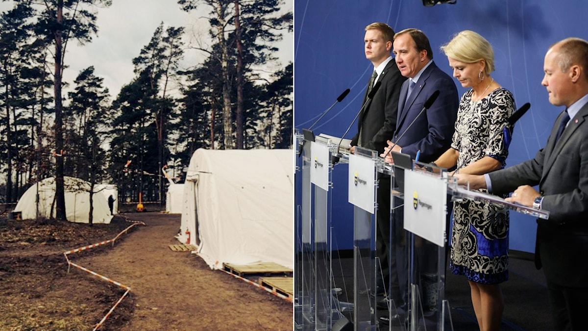 Bild på större vita tält som är uppställda i en skog. Bild från regeringens presskonferens om flyktingkrisen. Foto: TT. Montage: Sveriges Radio.