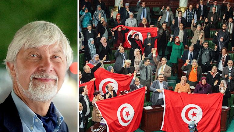 Freds- och konfliktforskaren Peter Wallensteen och Tunisiska parlamentet, samma dag som den nya tunisiska konstitutionen antogs. Foto: TT.