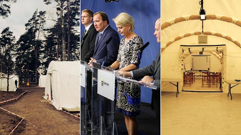 En av två modeller av vinterbonade tält som finns redan idag. Det är 30 m2 och tar 5-6 personer. Regeringens presskonferens. Foto: Regeringen/TT. Montage: Sveriges Radio.