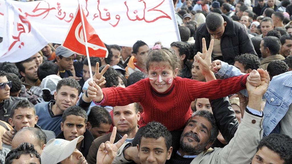 Början till den arabiska våren, demonstrationer på Mohamed Bouazizi torget i Sidi Bouzid, Tunisien. Foto: Fethi Belaid/AFP