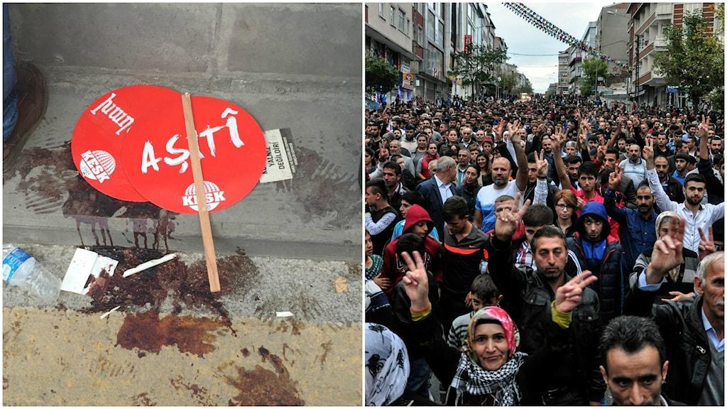 I Turkiet hölls det på lördagskvällen demonstrationer på många håll efter det blodiga bombdådet i Ankara. Foto: Tomas Thorén/ Sveriges radio och TT.
