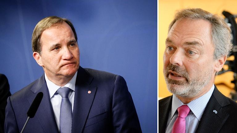 Stefan Löfven tittar på Björklund. Foto: Jacob Stephenson, Christine Olsson / TT