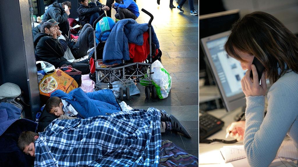 Nyanlända flyktingar på Malmö Central. Kvinna vid skrivbordf. Foto: TT. Montage: Sveriges Radio.
