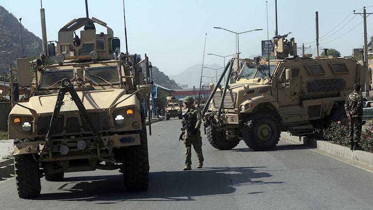 Amerikanska militärer vid avspärrning i Afghanistan