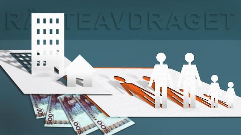 Illustration visar människosilluetter, pengar och byggnader utklippta ur papper. Illustration: Susanne Lindeborg/Sveriges Radio.