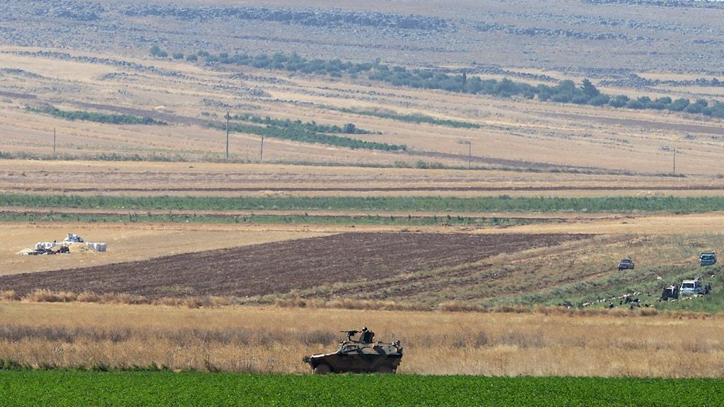Turkisk militär patrullerar nära Syriska gränsen i Kilisprovinsen. Foto: TT