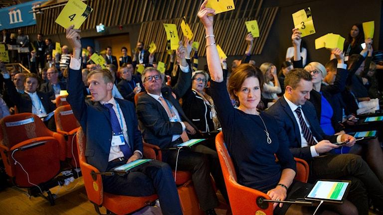 Röstning på moderatstämman i Karlstad. Foto: Fredrik Karlsson/TT