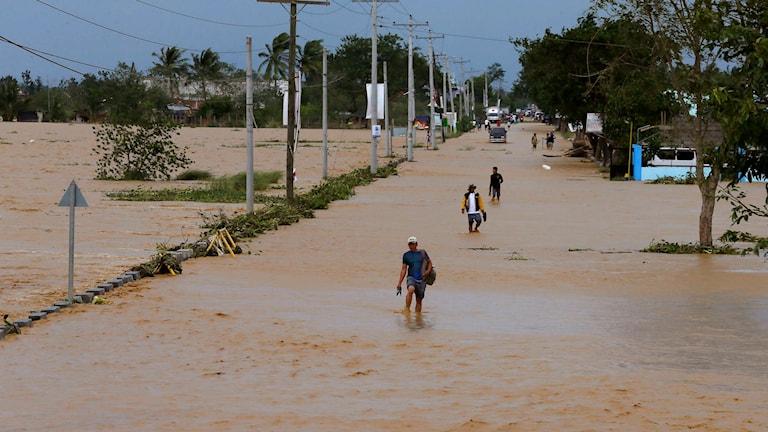 Invånare vadar genom översvämmade gator i Nueva Ecija-provinsen. Foto: Bullit Marquez/TT.