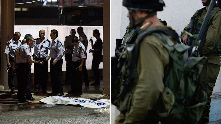 Bild på platsen där terrordådet inträffade och bild på israeliska soldater. Foto: Tsafrir Abayov/AP, Nasser Ishtayeh/AP