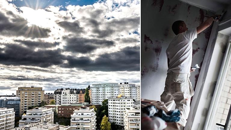 Översiktsbild på bostadsområde, ung man som renoverar lägenhet. Foto: Tomas Oneborg/SvD/TT, Simon Paulin/SvD/TT