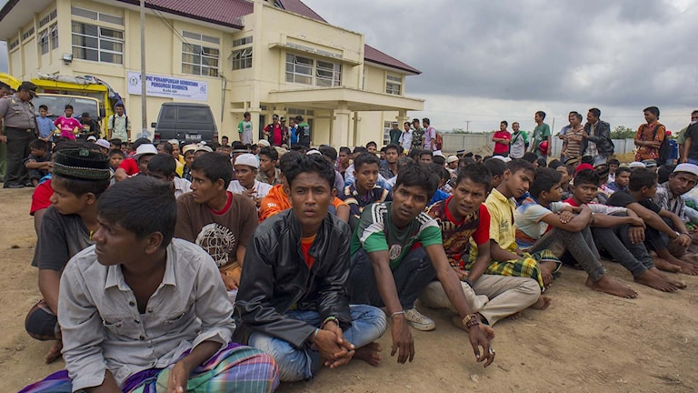 Rohingyas som kommit i land i Ache. Foto: Chaideer Mahyuddin/TT.