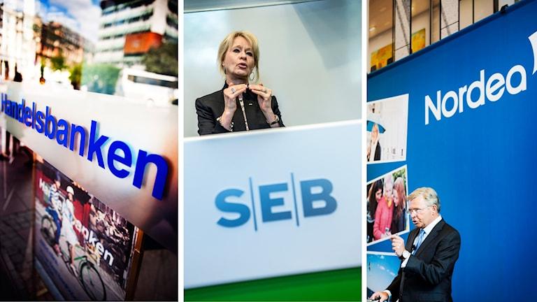 SEB, Nordea och Handelsbanken kommer med delårsrapport Foto: Lars Pehrson , Annika af Klercker och : Linus Sundahl-Djerf/ TT