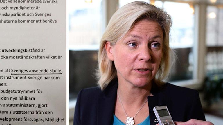 Delad bild: Dokumentet som Ekot tagit del samt finansminister Magdalena Andersson. Foto: Sveriges Radio samt Maja Suslin/TT.
