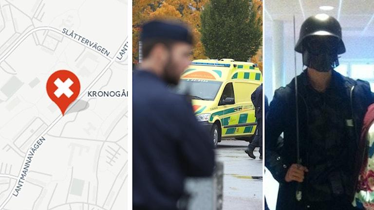Den misstänkta gärningsmannen fotades på skolan i samband med attacken. Foto: TT, CartoDB
