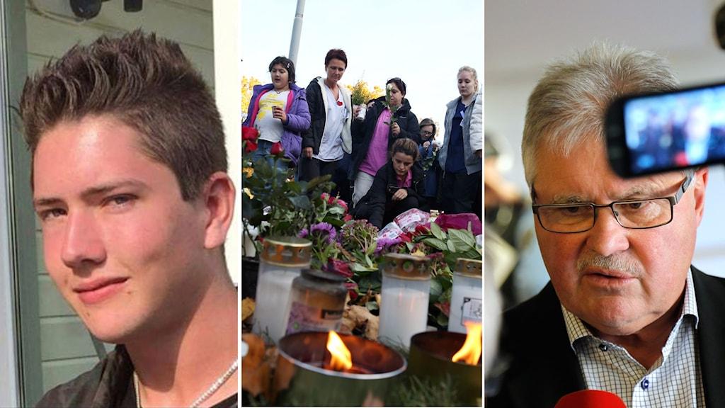Den misstänkte mördaren Anton Lundin, människor som lägger ner blommor och förundersökningsledare Thord Haraldsson. Foto: Facebook, Björn Larsson Rosvall/TT, Adam Ihse/TT