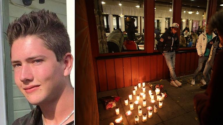 Misstänkte mördaren och ljus utanför skolan. Foto: Facebook, Björn Larsson Rosvall/TT