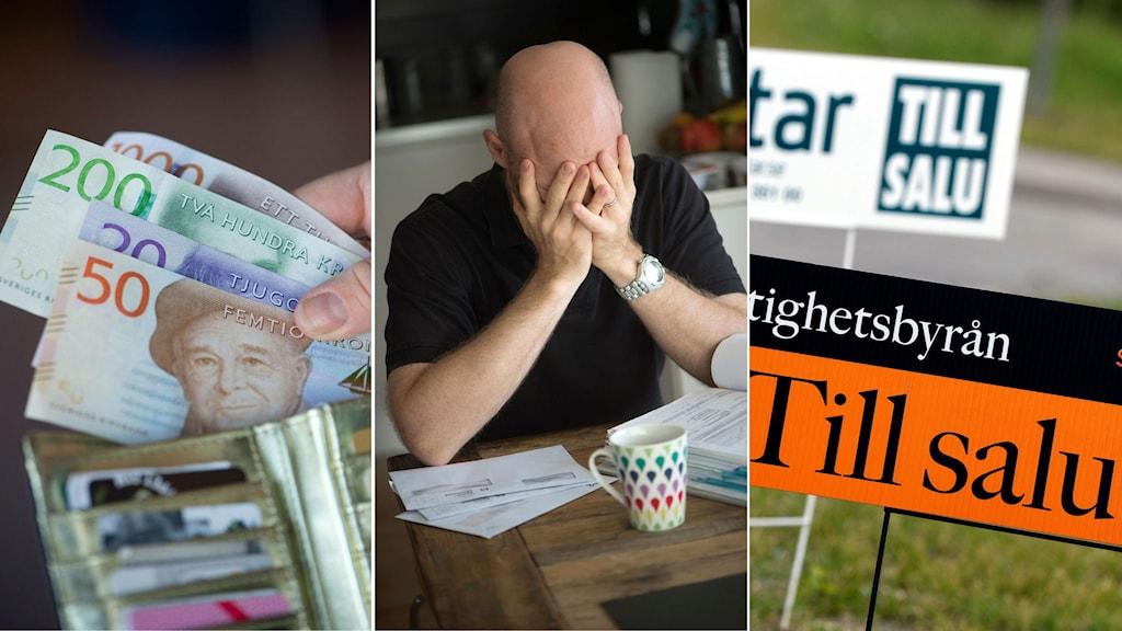 Bildmontage med plånbok med de nya sedlarna, man som sitter och håller för händerna och skyltar som visar bostäder som är till salu. Foto: TT. Montage: Sveriges Radio.