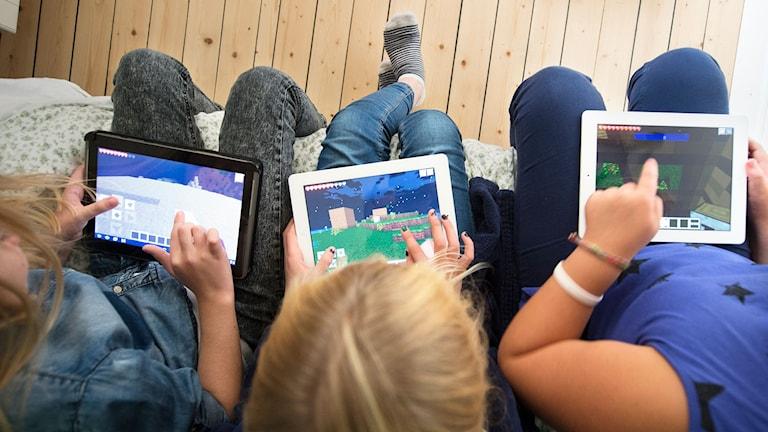 Tre kompisar spelar datorspelet Minecraft online på sina surfplattor. Foto: Fredrik Sandberg/TT.