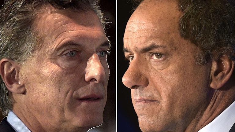 Argentinas två presidentkandidater. Foto: AFP/TT.